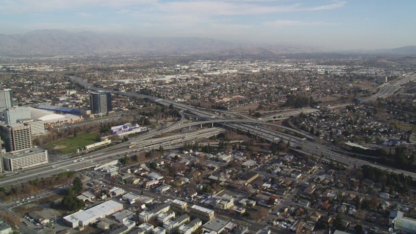 5K Aerial Video of An orbit of a freeway interchange, San Jose, California Aerial Stock Footage | DCSF09_006