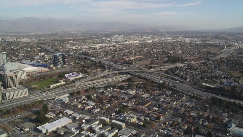 5K Aerial Video of An orbit of a freeway interchange, San Jose, California
