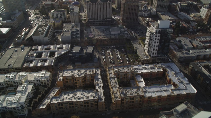 5K Aerial Video Tilt from apartment buildings and fly over Downtown San Jose, California Aerial Stock Footage | DCSF09_008