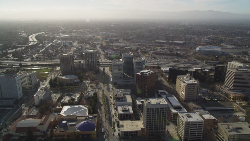 5K Aerial Video Follow Park Avenue to Highway 87 in Downtown San Jose, California Aerial Stock Footage | DCSF09_009
