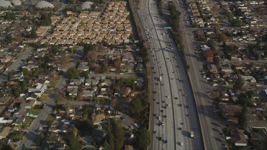 5K Aerial Video Reverse view of light traffic on Interstate 280, San Jose, California Aerial Stock Footage   DCSF09_011