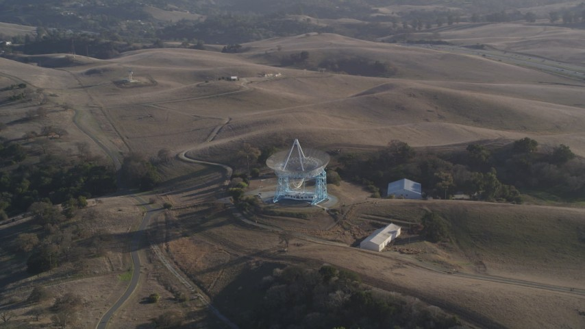 5K Aerial Video Orbiting The Dish, Stanford Foothills, Stanford, California Aerial Stock Footage | DCSF09_021