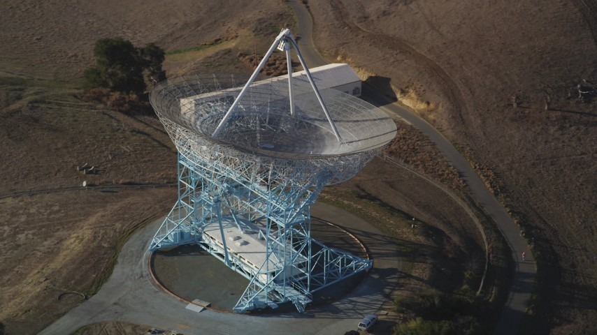 5K Aerial Video Orbit The Dish, zoom out to wider view, Stanford Foothills, Stanford, California Aerial Stock Footage | DCSF09_022