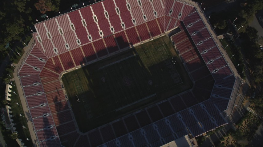 5K Aerial Video Bird's eye reveal of the Stanford Stadium, Stanford University, California Aerial Stock Footage | DCSF09_024