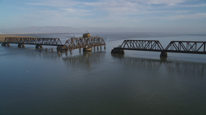 5K Aerial Video Flyby Dumbarton Rail Bridge spanning the San Francisco Bay, California Aerial Stock Footage | DCSF09_027