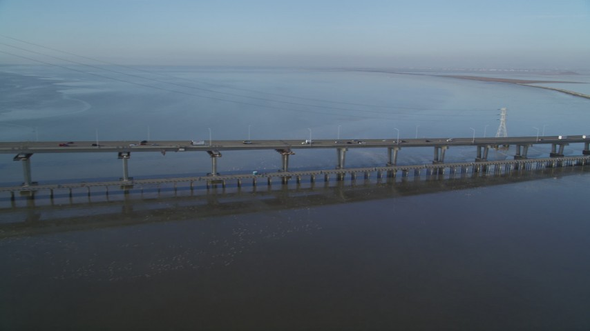 5K Aerial Video Pan across light traffic on the Dumbarton Bridge, Fremont, California Aerial Stock Footage | DCSF09_028