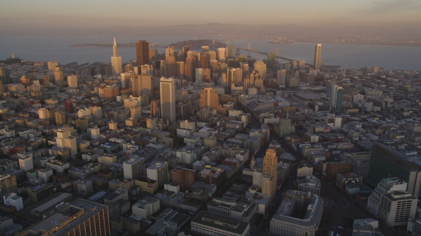 5K Aerial Video Flyby Downtown San Francisco, San Francisco Bay in the background, California, twilight Aerial Stock Footage | DCSF10_004