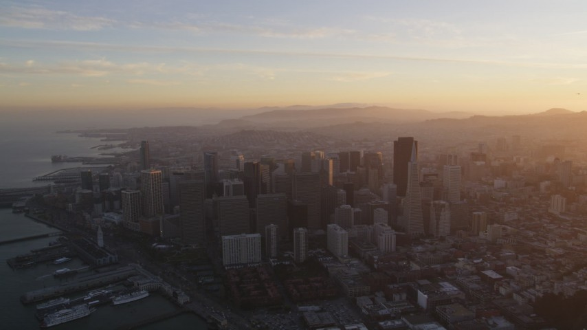 5K Aerial Video Downtown San Francisco cityscape seen from North Beach, California, sunset Aerial Stock Footage | DCSF10_010