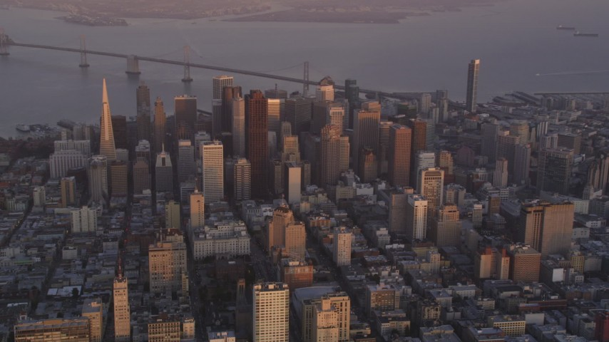 5K Aerial Video Fly away from Downtown San Francisco, California, twilight, seen from the west side of the city Aerial Stock Footage | DCSF10_016
