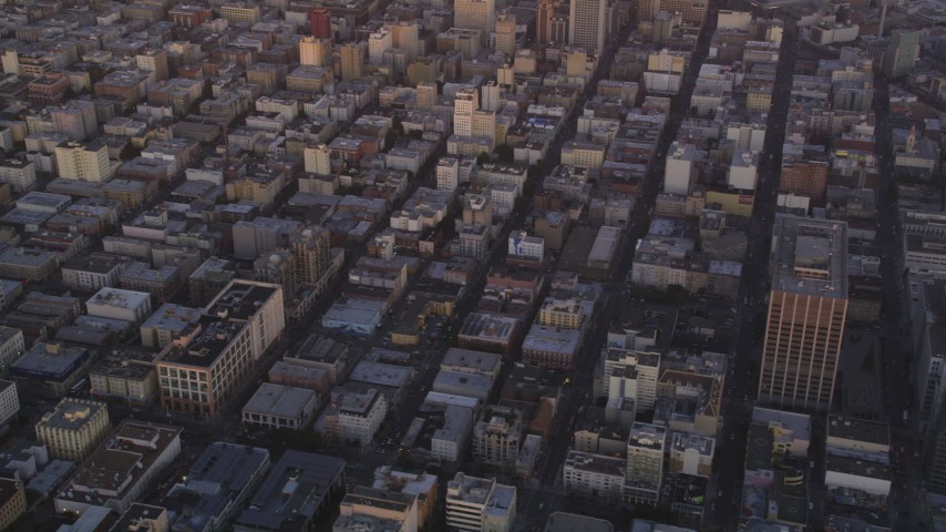 5K Aerial Video Tilt from Civic Center to reveal Downtown San Francisco, California, twilight Aerial Stock Footage | DCSF10_017