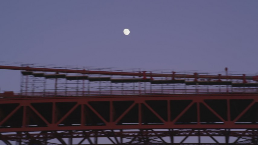 5K Aerial Video Moon above the Golden Gate Bridge, San Francisco, California, twilight Aerial Stock Footage | DCSF10_034