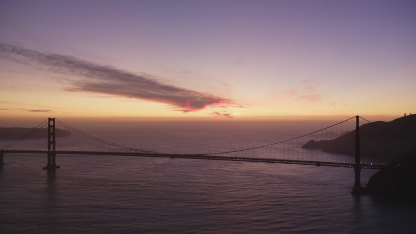 5K Aerial Video of A reverse view of the Golden Gate Bridge, San Francisco, California, twilight Aerial Stock Footage | DCSF10_051