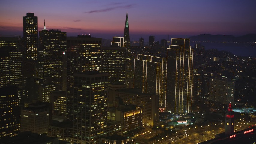 5K Aerial Video Flyby skyscrapers and high-rises in Downtown San Francisco, California, night Aerial Stock Footage | DCSF10_069