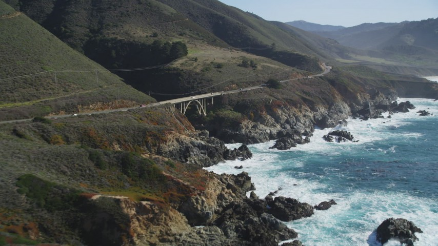 5K Aerial Video Flying by a bridge spanning a gorge, Highway 1, Carmel, California Aerial Stock Footage | DCSF11_018