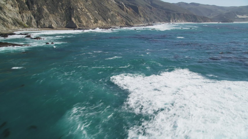 5K Aerial Video Flying over ocean kelp near coastal cliffs, Big Sur, California Aerial Stock Footage | DCSF11_025