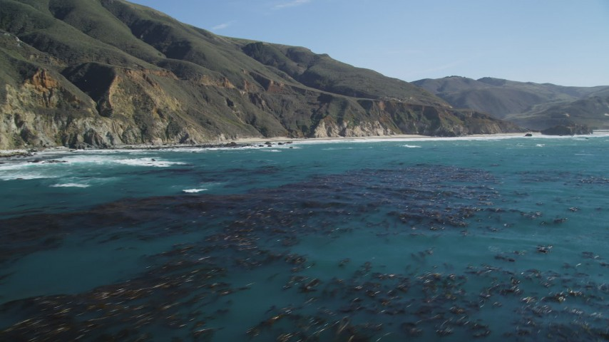 5K Aerial Video Fly over ocean kelp near steep coastal cliffs, Big Sur, California Aerial Stock Footage | DCSF11_027