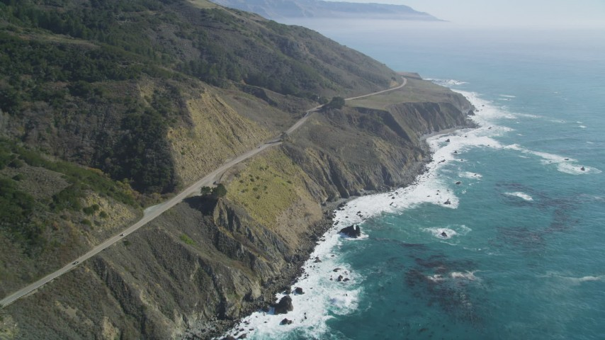 5K Aerial Video Highway 1 with light traffic and coastal cliffs, Big Sur, California Aerial Stock Footage DCSF11_039