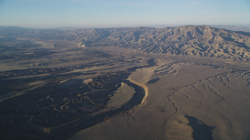 5K Aerial Video of A view of the San Andreas Fault and Temblor Range, San Luis Obispo County, California Aerial Stock Footage | DCSF12_008