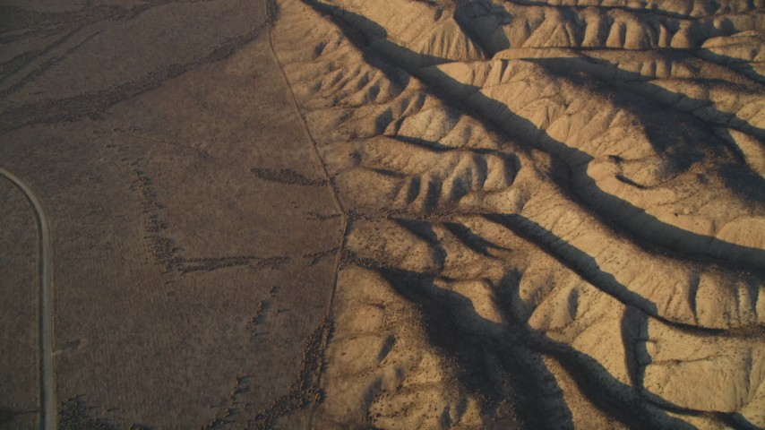 5K Aerial Video Tilt from San Andreas Fault for a wider view of the fault, San Luis Obispo County, California  Aerial Stock Footage | DCSF12_011