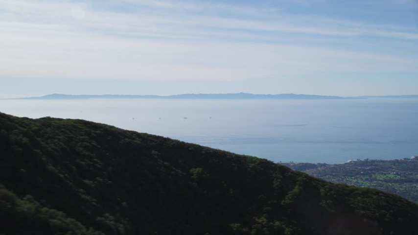 5K stock footage aerial video flyby Santa Ynez Mountains with a view of Santa Barbara Channel, Santa Cruz Island, California Aerial Stock Footage | DFKSF01_035
