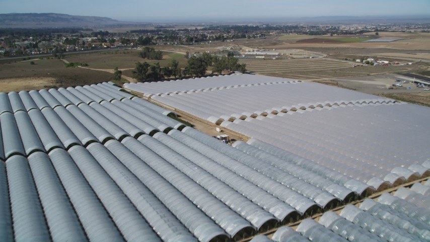 5K stock footage aerial video of flying over greenhouses at a farm in Santa Maria, California Aerial Stock Footage | DFKSF02_003