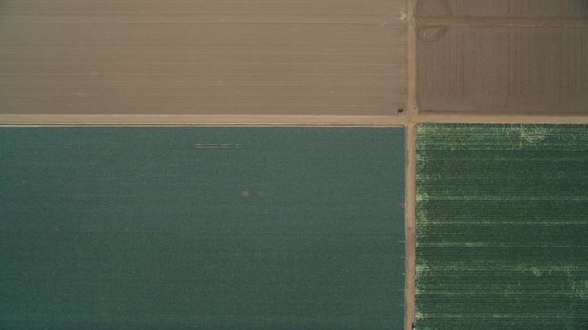 5K stock footage aerial video of a bird's eye view of crops and brown fields, Santa Maria, California Aerial Stock Footage | DFKSF02_007