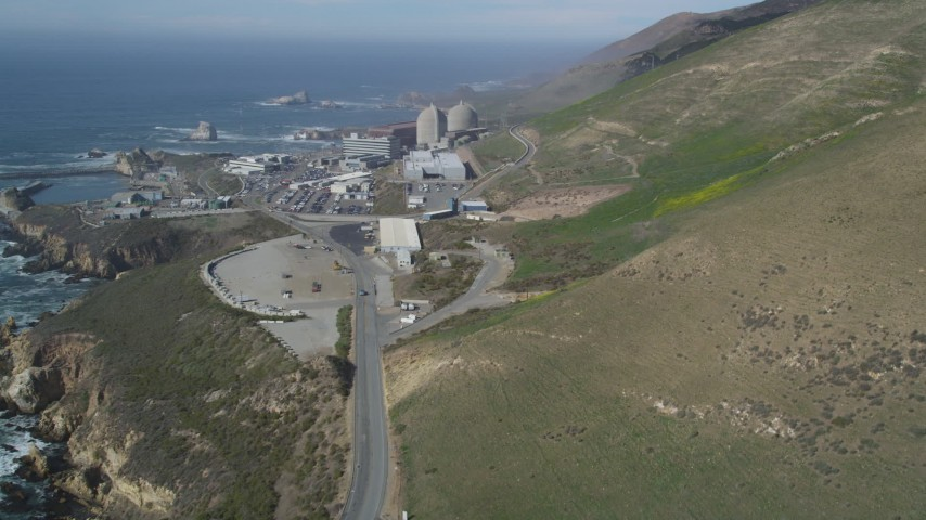 5K stock footage aerial video of approaching the coastal Diablo Canyon Power Plant, Avila Beach, California Aerial Stock Footage | DFKSF02_071