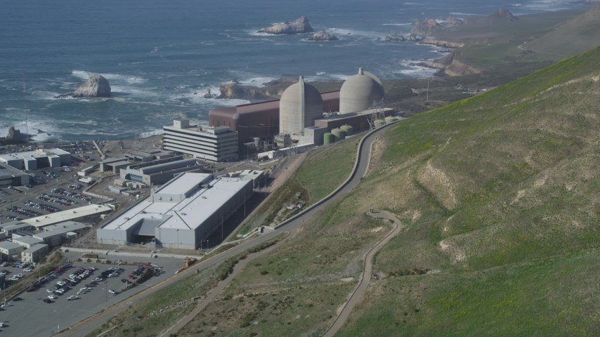 5K stock footage aerial video of flying by the coastal Diablo Canyon Power Plant, Avila Beach, California Aerial Stock Footage | DFKSF02_072