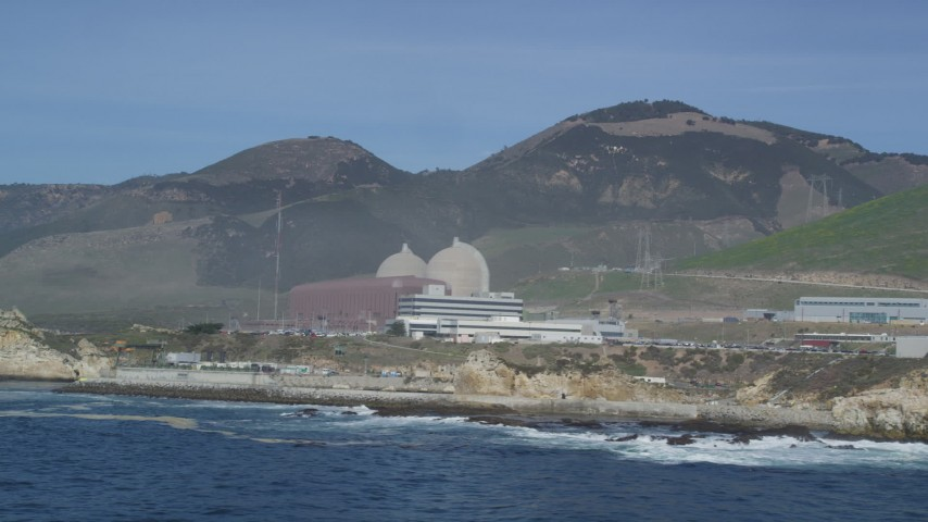 5K stock footage aerial video pass the coastal Diablo Canyon Power Plant nuclear facility, Avila Beach, California Aerial Stock Footage | DFKSF02_079