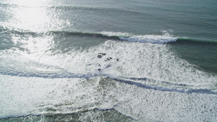 5K stock footage aerial video of flying by ocean waves, Cambria, California Aerial Stock Footage | DFKSF03_047
