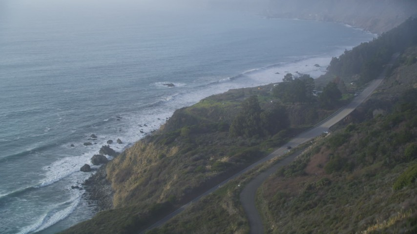 5K stock footage aerial video of flyby Highway 1 coastal road to approach Kirk Creek Campground, Big Sur, California Aerial Stock Footage | DFKSF03_110