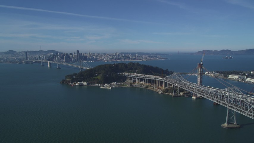 5K stock footage aerial video of the Bay Bridge, Yerba Buena Island, and Downtown San Francisco skyline, California Aerial Stock Footage | DFKSF05_010