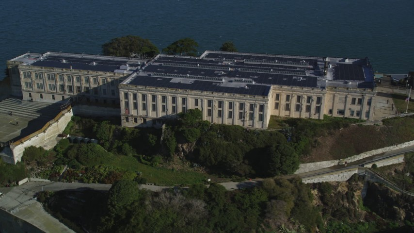 5K stock footage aerial video of flying around the Main Cell House building of iconic Alcatraz, San Francisco, California Aerial Stock Footage | DFKSF05_025