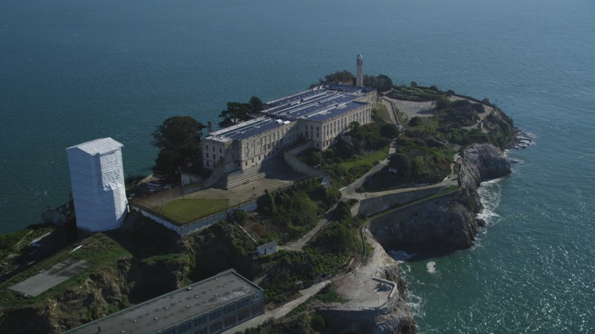 Flying away from Alcatraz, San Francisco, California Aerial Stock Footage | DFKSF05_026