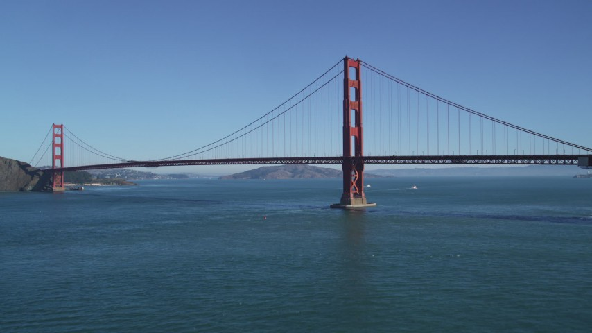 5K aerial video of ascending toward the famous Golden Gate Bridge, San Francisco, California Aerial Stock Footage | DFKSF05_039
