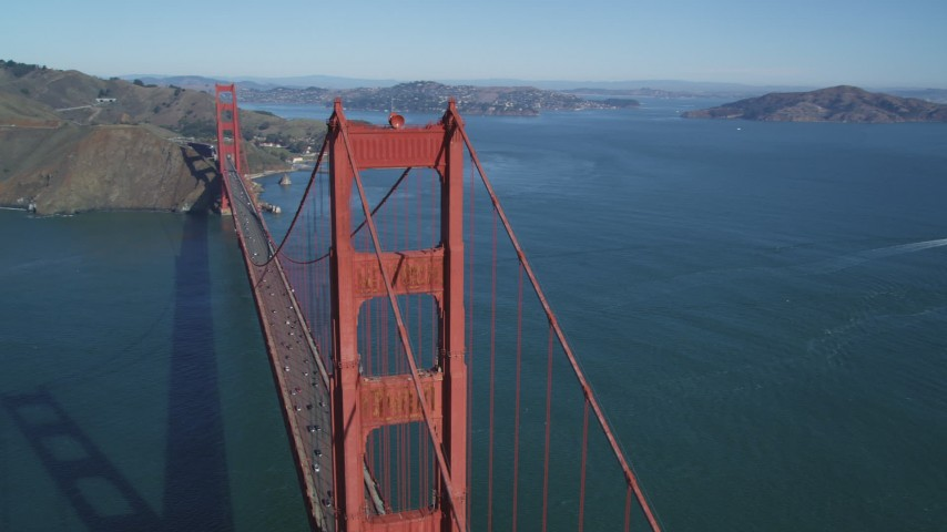 5K stock footage aerial video of passing one of the towers on the Golden Gate Bridge, San Francisco, California Aerial Stock Footage | DFKSF05_041