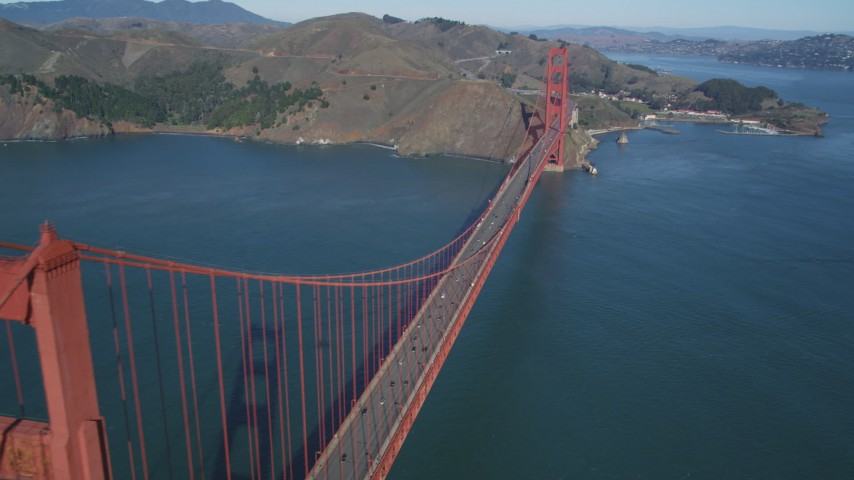 5K stock footage aerial video view of the Marin side of the Golden Gate Bridge in San Francisco, California Aerial Stock Footage | DFKSF05_042