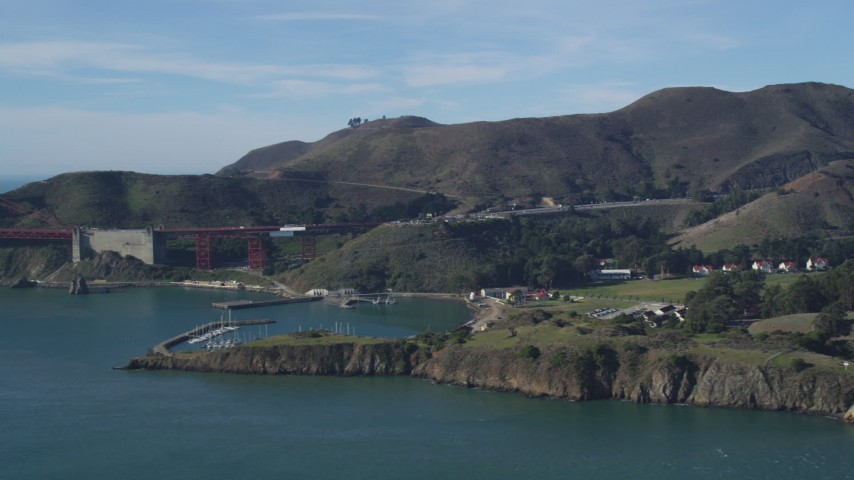 5K stock footage aerial video of Horseshoe Bay marina and the Marin Hills, Saualito, California Aerial Stock Footage | DFKSF05_043