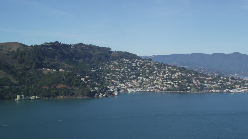 5K stock footage aerial video flyby the Marin Hills revealing the coastal community of Sausalito, California Aerial Stock Footage | DFKSF05_044