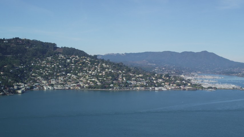 5K stock footage aerial video of a view of Sausalito, California, seen from the bay Aerial Stock Footage | DFKSF05_045