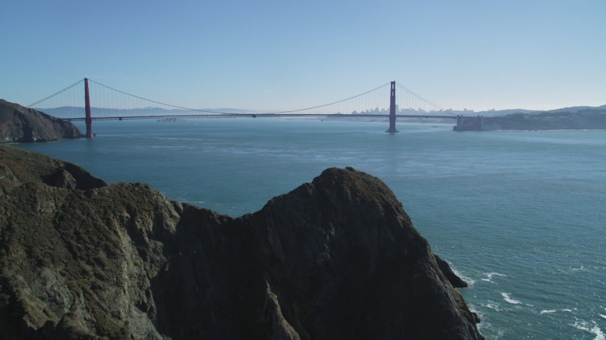 5K stock footage aerial video of approaching the Golden Gate Bridge from Marin Headlands, San Francisco, California Aerial Stock Footage | DFKSF05_048