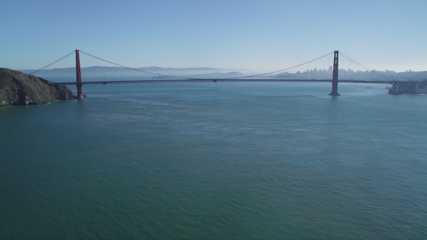 5K stock footage aerial video of an approach to the famous Golden Gate Bridge, San Francisco, California Aerial Stock Footage | DFKSF05_049
