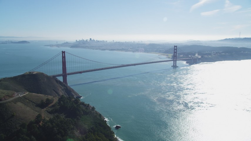5K stock footage aerial video fly from Marin Hills toward the Golden Gate Bridge, San Francisco, California Aerial Stock Footage | DFKSF05_051