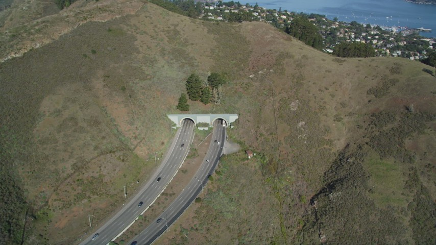 5K stock footage aerial video of the Robin Williams Tunnel (Waldo Tunnel), Marin Hills, Sausalito, California Aerial Stock Footage | DFKSF05_054