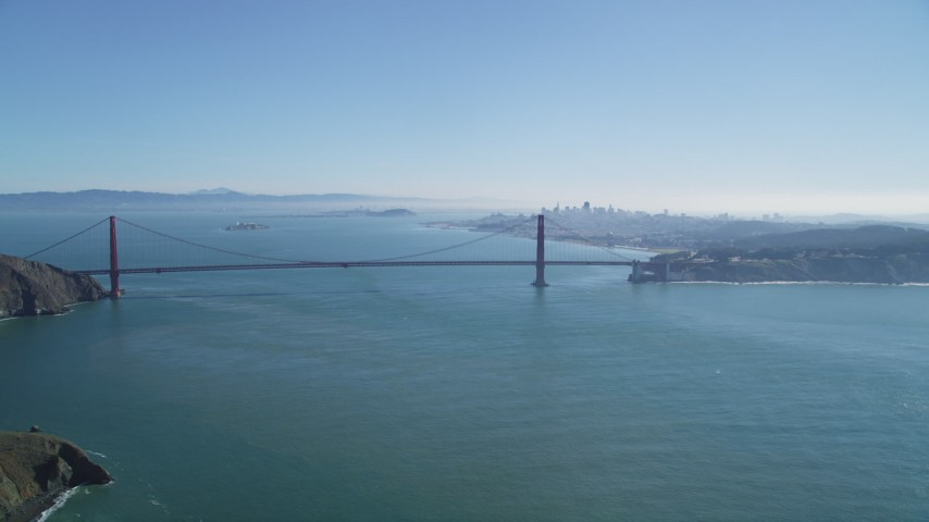 5K stock footage aerial video of the Golden Gate Bridge and city skyline, San Francisco, California Aerial Stock Footage | DFKSF05_055