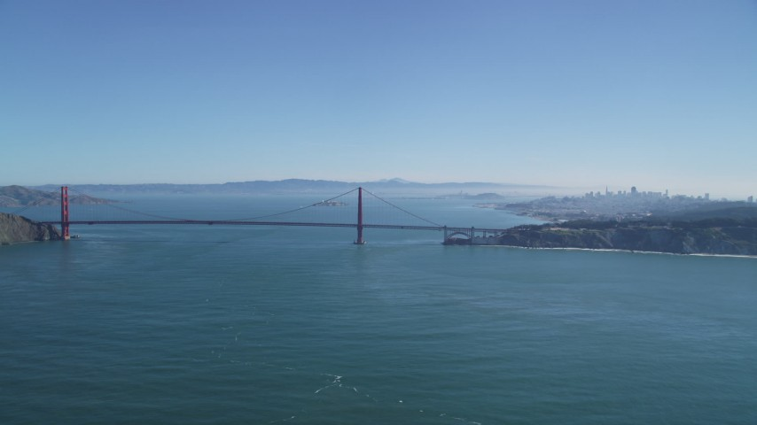 5K stock footage aerial video of the famous Golden Gate Bridge in San Francisco, California Aerial Stock Footage | DFKSF05_057