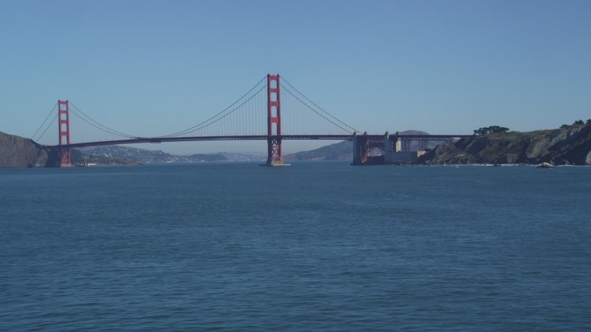 Flying by the Golden Gate Bridge, San Francisco, California Aerial Stock Footage | DFKSF05_065