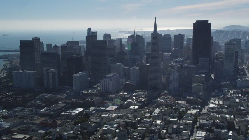 5K stock footage aerial video fly over Coit Tower, approach Transamerica Pyramid and skyline, Downtown San Francisco, California Aerial Stock Footage | DFKSF05_075