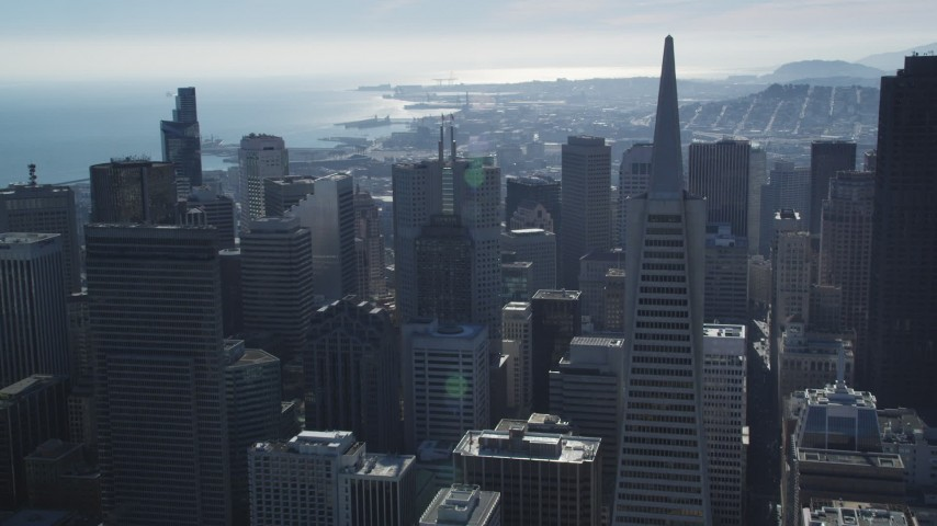 5K stock footage aerial video of approaching iconic Transamerica Pyramid and skyscrapers, Downtown San Francisco, California Aerial Stock Footage | DFKSF05_076