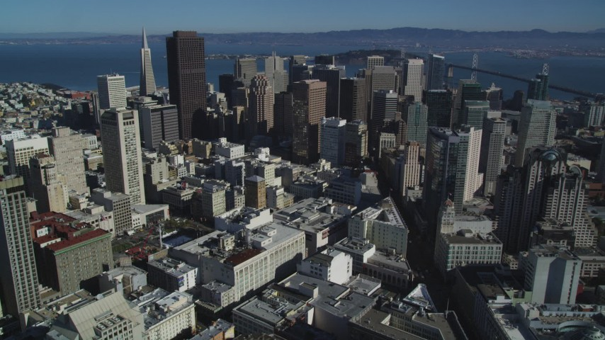 5K stock footage aerial video of tall downtown skyscrapers in Downtown San Francisco, California Aerial Stock Footage | DFKSF05_080